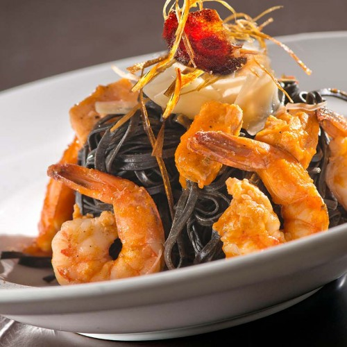 Black Tagliolini with Salmon & Prawns